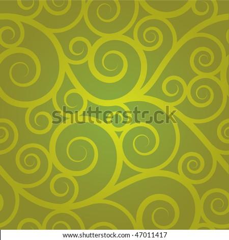 Green swirl seamless pattern - stock vector