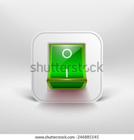 Green switch icon. Vector illustration. - stock vector