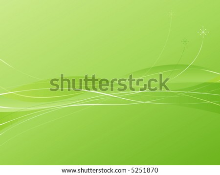 Green Swooshie Background with flowing lines and atomic starbursts. Easy-edit layered file. - stock vector
