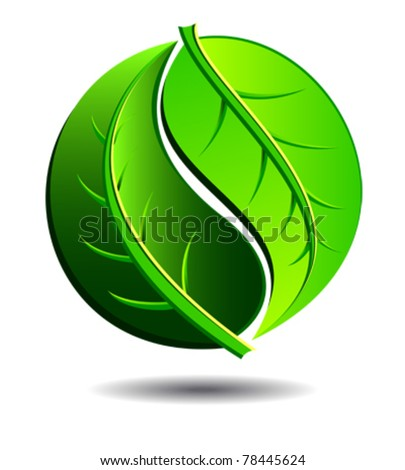 Green symbol concept using Yin Yang in a leaf design - stock vector