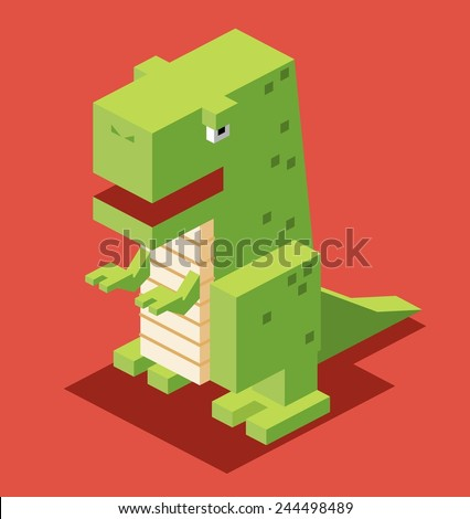 green t-rex. 3d pixelate isometric vector - stock vector