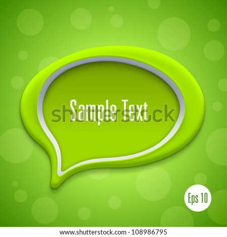 Green talk bubble symbol. Vector illustration - stock vector