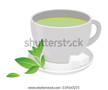 Green tea cup - stock vector