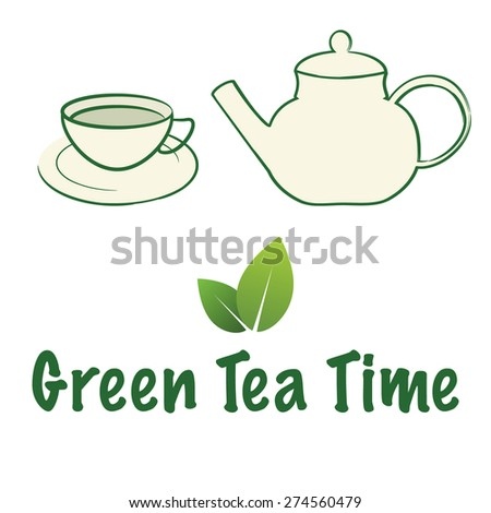 Green tea cup and pot / Green tea time / Organic tea /  A white ceramic teapot and teacup with green tea. - stock vector