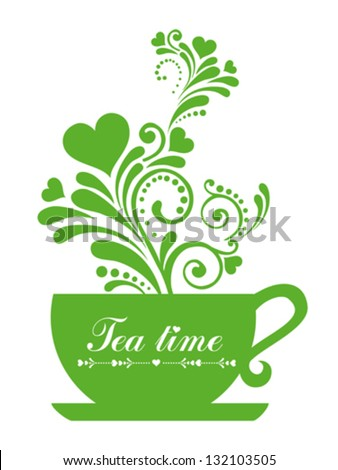 Green tea. Cup with floral design elements  isolated on White background. Vector illustration - stock vector