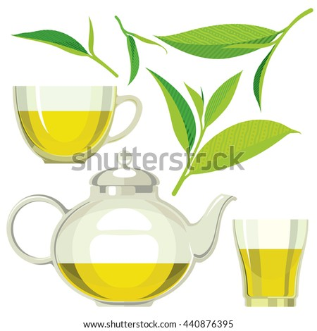 Green tea leaves, tea, kettle, cup, glass, flat illustration, set