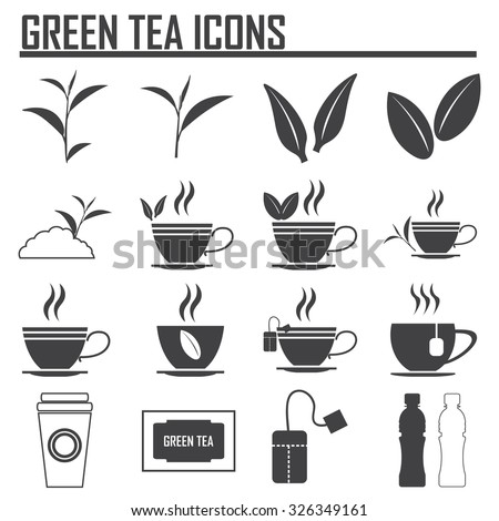 Green tea symbols and icons - stock vector