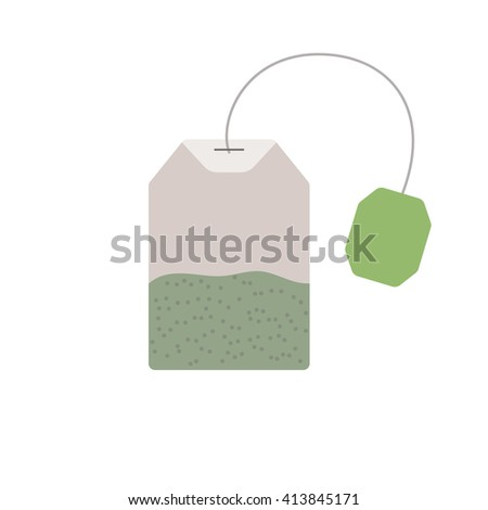 Green tea. Tea bag isolated on white background. Medical tea. Tea bag closeup. Tea bag vector concept