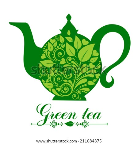 Green tea. Tea time. Teapot with floral design elements. Teapot silhouette isolated on White background. Restaurant menu or Invitation. Vector illustration  - stock vector