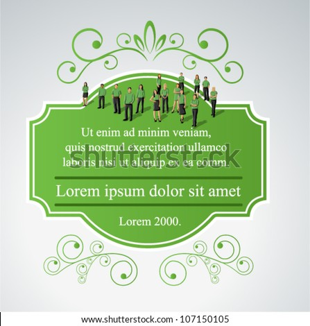 Green template for advertising brochure with business people. Border design elements for layout. - stock vector