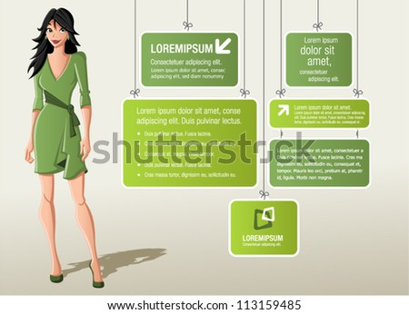 Green template for advertising brochure with cartoon woman in green dress - stock vector