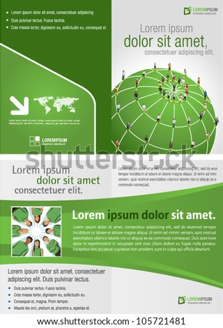 Green template for advertising brochure with connected people over earth globe. Social network. - stock vector