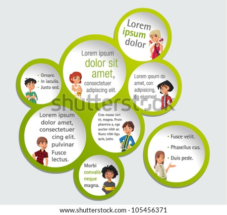 Green template for advertising brochure with teenager students - stock vector
