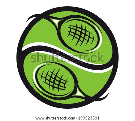 Green tennis ball symbol with rackets icon for sports logo emblem design - stock vector