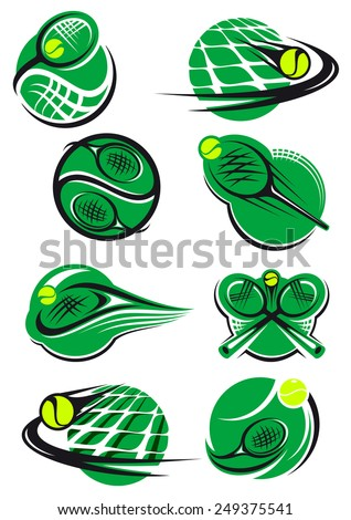 Green tennis icons with a ball, net and racket mostly depicting speed and motion for sports logo design - stock vector