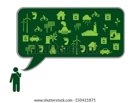 Green Thinking - stock vector