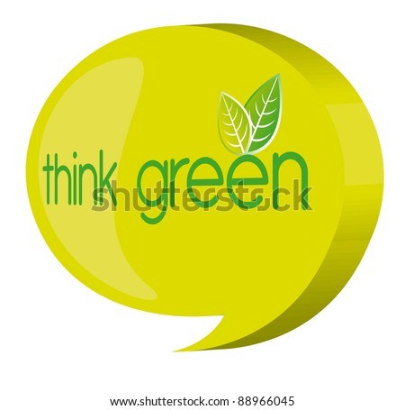 green thought bubble over white background. vector - stock vector