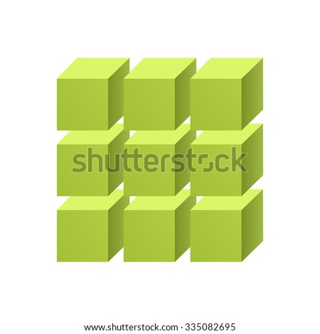 green three dimensional cubes - stock vector