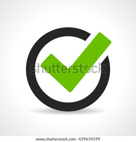 Green tick icon vector illustration isolated on white background