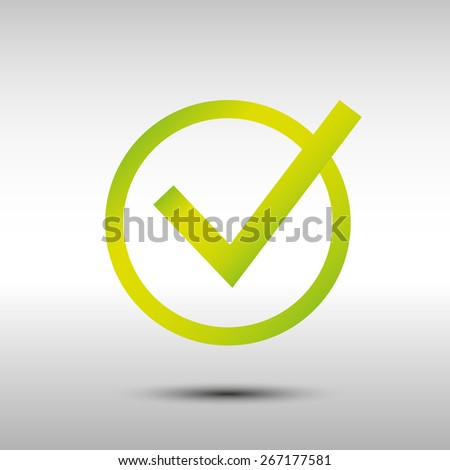 green tick symbol on gray background - stock vector