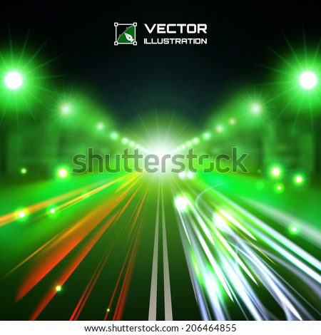 green tint night road with glowing lights, bokeh and speed lines - stock vector
