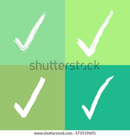 Green tone check mark set Vector EPS10, Great for any use - stock vector