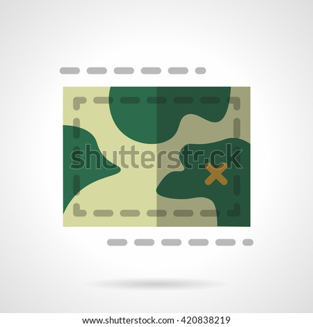 Green topographic map. Cartography and geography, tourism, hiking, travel navigation. Flat style color vector icon - stock vector