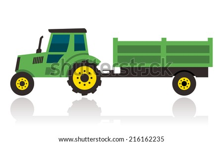 green tractor with trailer  - stock vector
