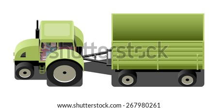 Green tractor with trailer, agricultural machinery, vector cartoon illustration