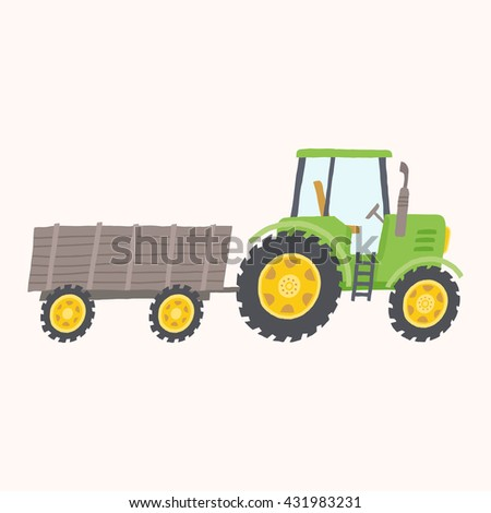Green tractor with trailer. Toy tractor. Cartoon farm tractor. Vector hand drawn eps 10 illustration isolated on white background. - stock vector