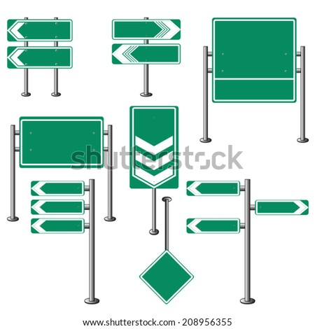 green traffic signs - stock vector