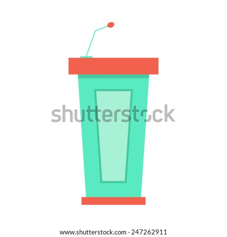 green trapezoidal tribune icon with microphone. concept of public speaking, conferences and report. isolated on white background. flat style logo design modern vector illustration - stock vector