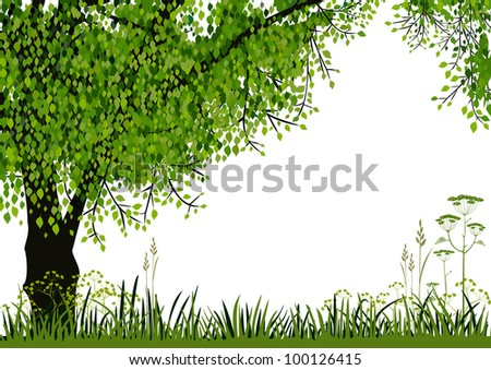 Green tree and meadow on white background with space for your text. Full scalable vector graphic