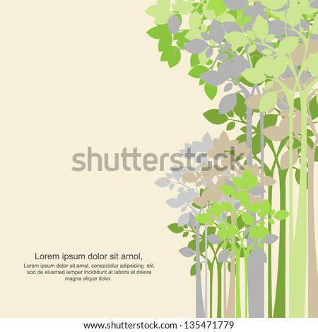 green tree background - stock vector