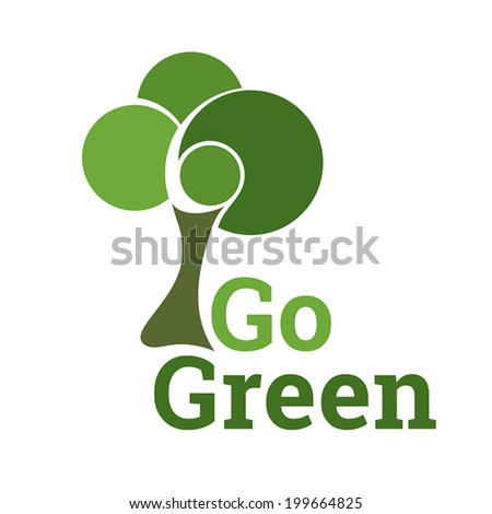 Green Tree Eco Symbol. Fully scalable vector illustration. - stock vector
