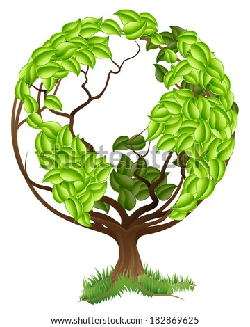 Green tree globe earth world conceptual illustration of a tree growing in the shape of a globe - stock vector