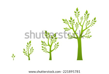 Green tree growth eco concept - stock vector