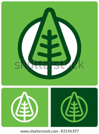 green tree icon - stock vector