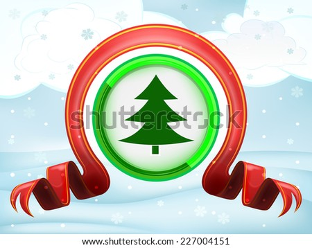 green tree icon with xmas bow at winter scenery vector illustration