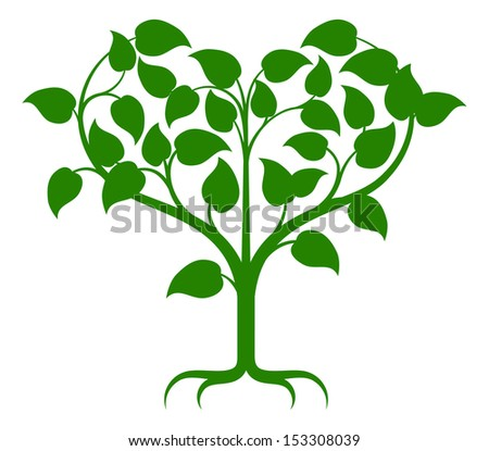 Green tree illustration with the branches growing into a heart shape. - stock vector