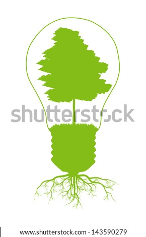 Green tree in light bulb symbol of renewable energy vector background ecology concept - stock vector