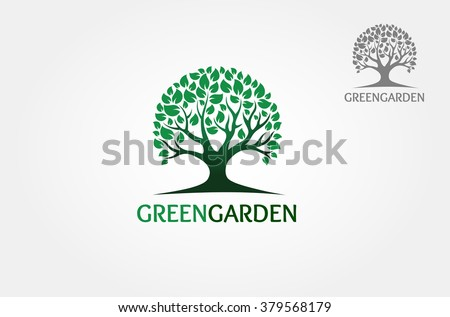 Green Tree isolated on a white background, Vector illustration  - stock vector