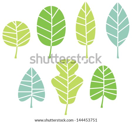 Green tree leaves collection isolated on white - stock vector