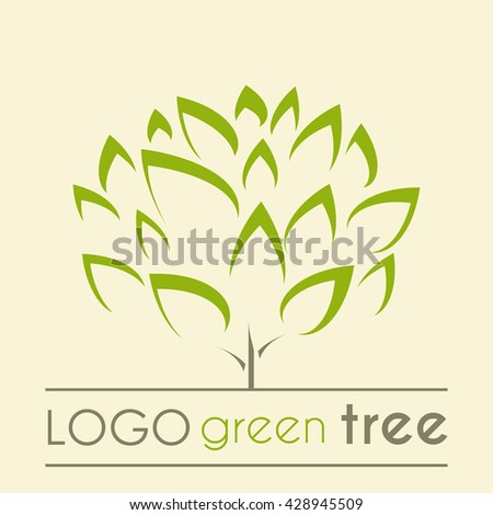 Green Tree logo icon concept of a stylized tree with leaves - sign, symbol, vector - stock vector
