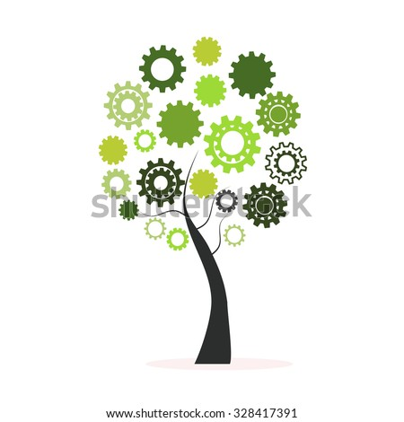 Green tree made from cogs and gears vector - stock vector