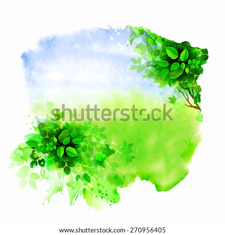 Green tree on the glade. Watercolor abstract. - stock vector