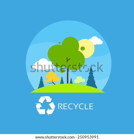 green tree recycle flat eco icon blue sky clouds vector illustration - stock vector