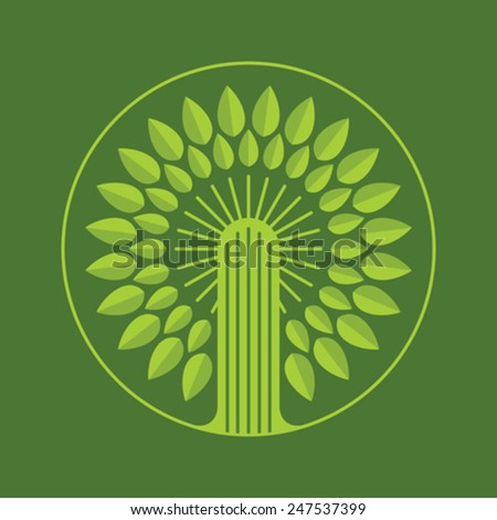 Green tree round icon, vector illustration logo - stock vector