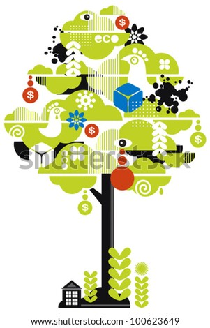 Green tree. Vector illustration with ecological pattern. - stock vector