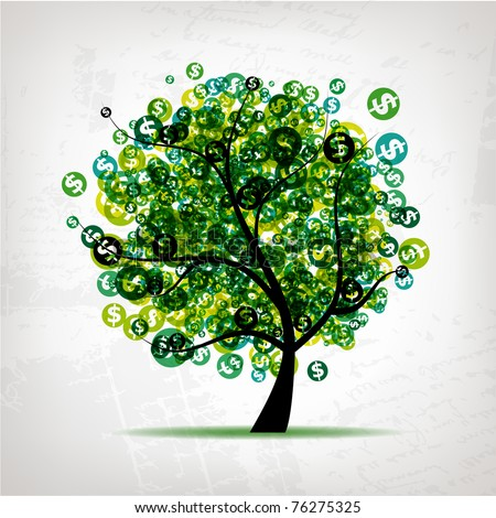 Green tree with dollars leaf on grunge background - stock vector